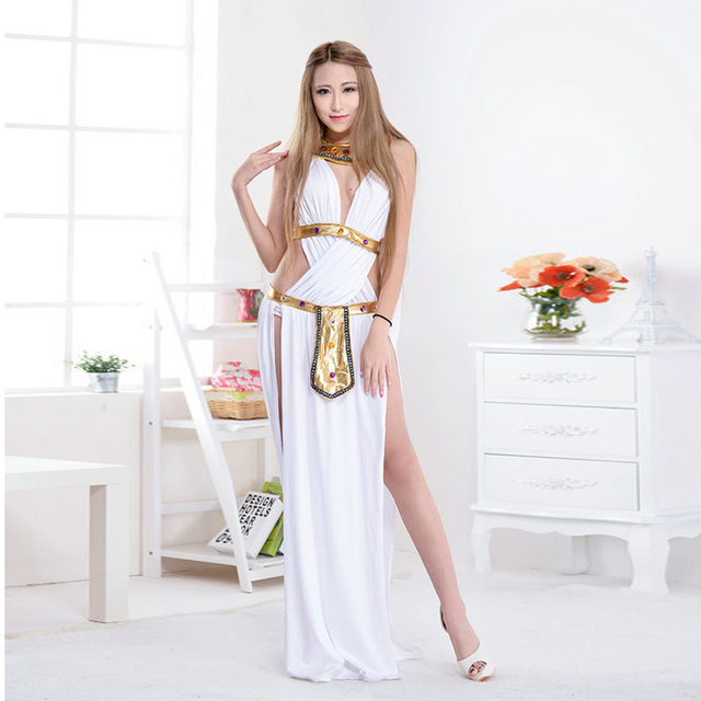 Sexy Egyptian Cleopatra Costume Ladies Cleopatra Roman Toga Robe Greek Goddess Fancy Dress Costume Outfits White