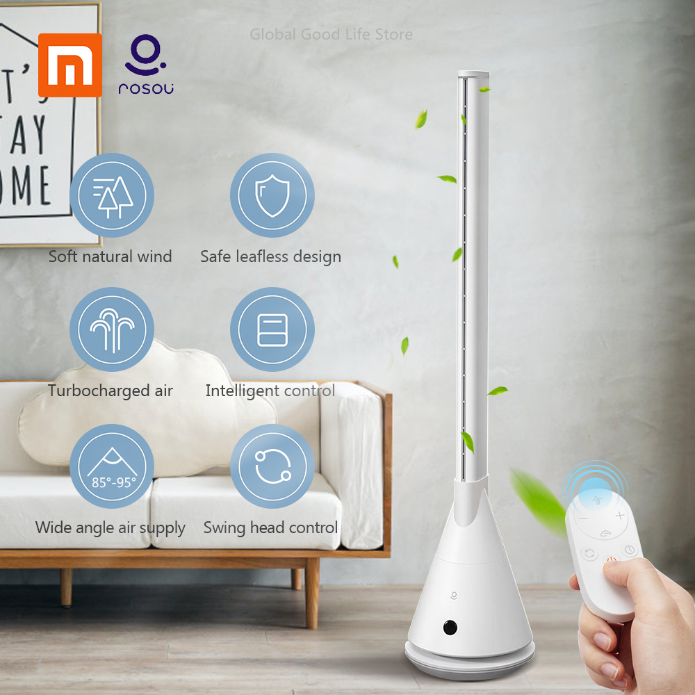 New Xiaomi Rosou SS4 Intelligent Bladeless Fan Mijia APP Control/Remote Control 11 Speed Natural Wind Timing Fan For Home Office 808 car keys micro camera