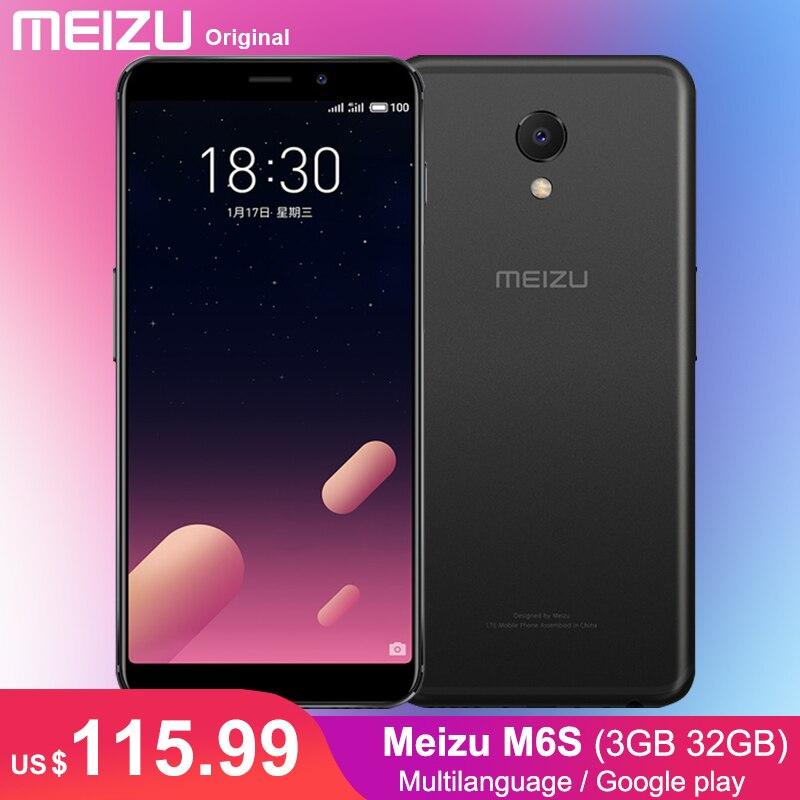Google Play Meizu M6S 3 ГБ 32 ГБ мобильный телефон Exynos 7872 гекса Core 3000 мАч 16.0MP 5,7 FHD телефона боковой сканер отпечатка пальца уход за кожей лица AE