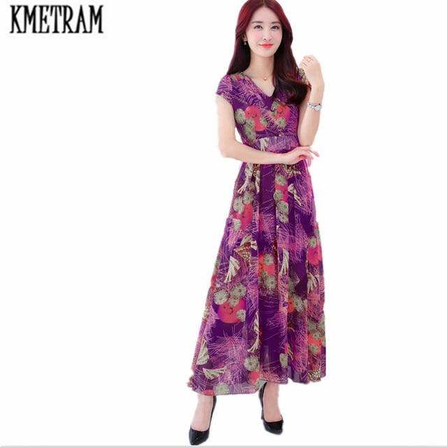 8a268113c11 KMETRAM Summer Women Long Dress Short Sleeve Chiffon Party Dress Casual  Elegant Maxi Midi Dresses robe femme ete 2018 HH119