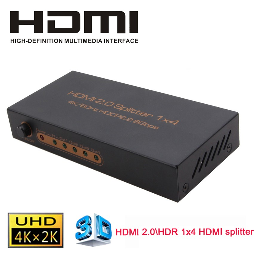 HDMI 2.0 HDR 1x4 HDMI splitter Switcher 1 In 4 Output HDMI Video Audio Amplifier 3D 4K*2K @60Hz HDCP2.2 With Power Adapter
