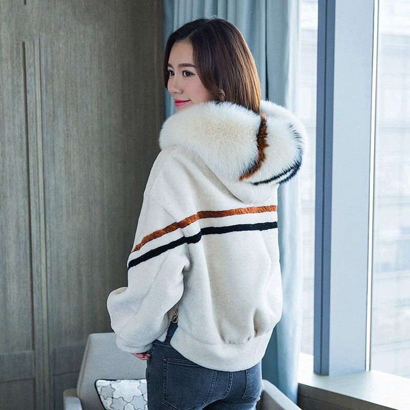 En Vestes Renard 2018 Blanc D'agneau Noir Collor Fourrure Nouveau Mince D'hiver Femmes Courte jaune Laine Réel Manteau Veste Tops De Z594 vdazwq