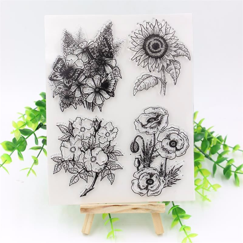 Flower Transparent Clear Silicone Stamps for DIY Scrapbooking Planner/Card Making/Kids Crafts Fun Decoration Supplies kscraft butterfly and insects transparent clear silicone stamps for diy scrapbooking card making kids fun decoration supplies