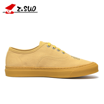 Z. Suo Brand New Summer Mens Canvas Shoes Casual Flats Shoes Fashion Men Lace Up Sneakers Shoes  Zapatillas Hombre Yellow 1