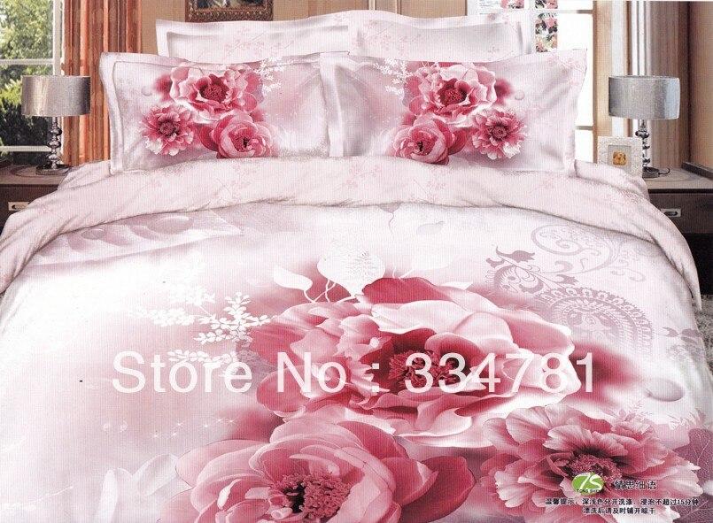 Hot Beautiful 100% Cotton 4pc Doona Duvet QUILT Cover Set bedding set Full / Queen King size pink Blooming flowr rose - jiagen chen's store