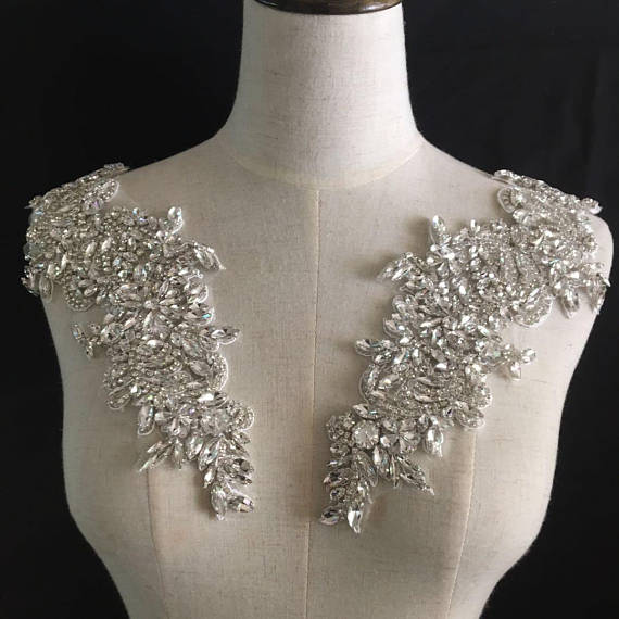 1piece Rhinestone Bead Applique, Heavy Bead Handmade Rhinestone Applique For Bridal Sash DH2#