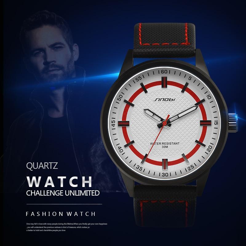 SINOBI 2017 New Sport Watches for Men Waterproof Quartz Wristwatches Fashion Leather Band Watch Men Brand