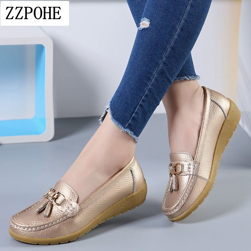 ZZPOHE Spring Autumn Woman Leather Flats Shoes Women Slip On Soft Footwear Casual Shoes Mother Shoes Female Driving Shoes classic zapatillas spring autumn women shoes mesh breathable female casual shoes woman footwear sneakers women flats shoes