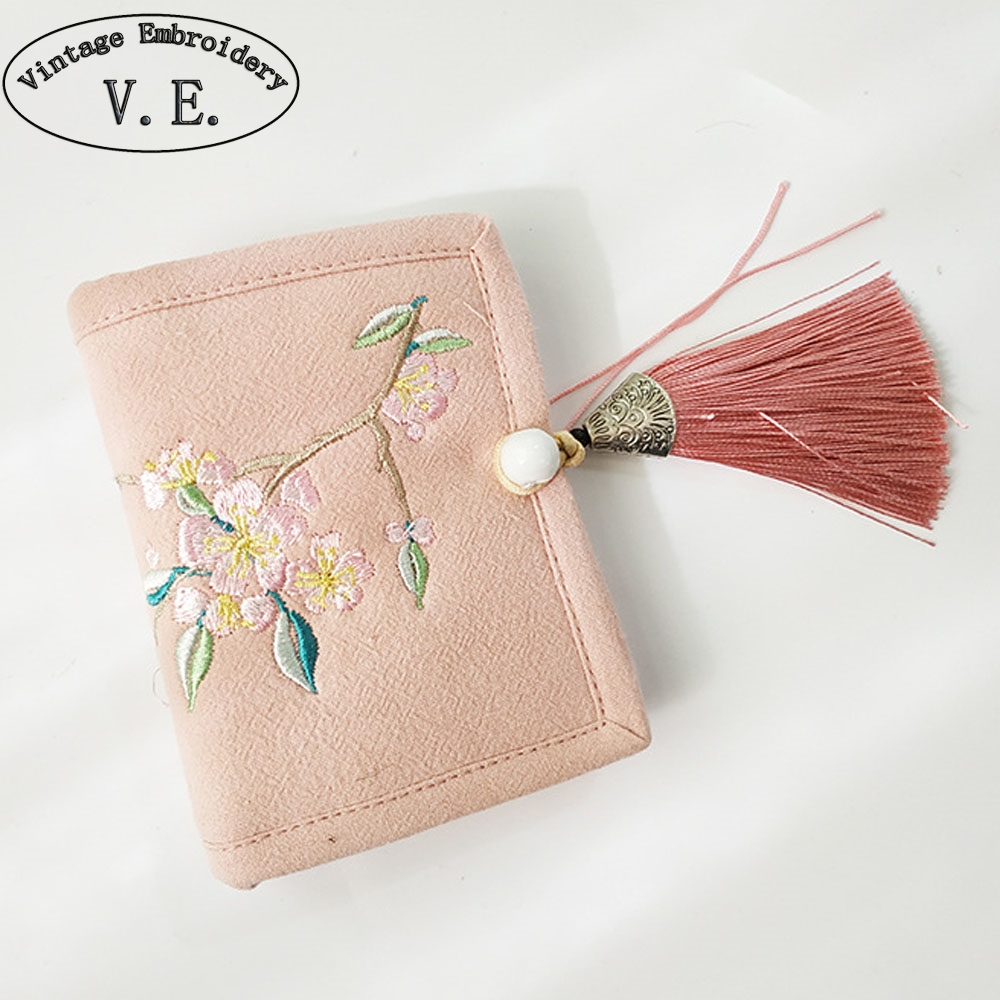 Short Wallet Women's Purse High-Quality Card-Holder Clutch Embroidery Vintage Cotton