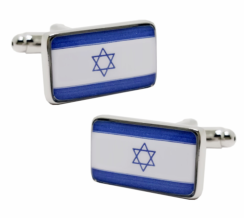 Free shipping Flag Cufflinks blue color Flag of Israel design hotsale copper material cufflinks whoelsale&retail
