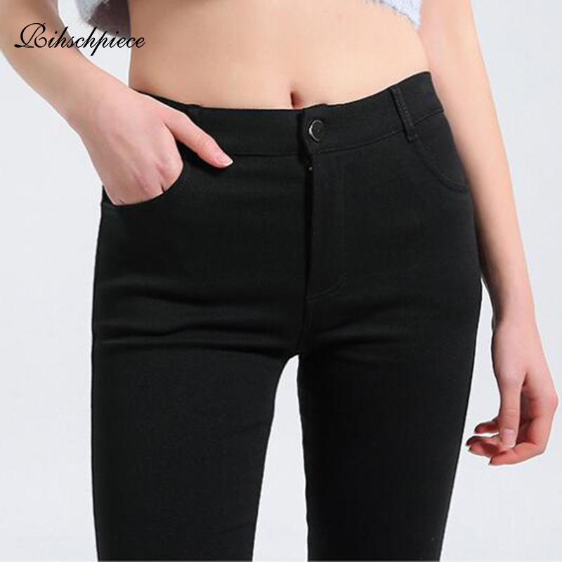 Rihschpiece Autumn Plus Size 5XL Leggings Women Pants Punk Jeggings Black Fashion Pocket High Waist Legging Trousers RZF1497