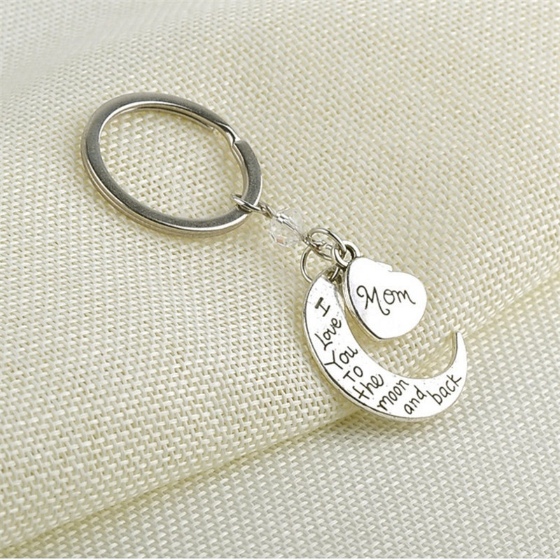 MISANANRYNE Sliver Color Alloy Keychains Mom I Love You To the Moon and Back Creative Moon Heart Shape Key Chain Bag Pendant shape i