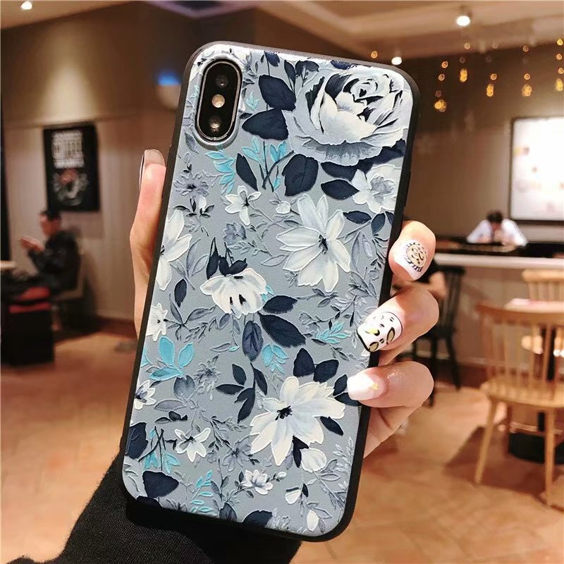 KIPX1051A_1_JONSNOW 3D Emboss Flowers Soft Case for iPhone XS XR Cases for iPhone 6S 7P 8 Plus XS Max Phone Cover