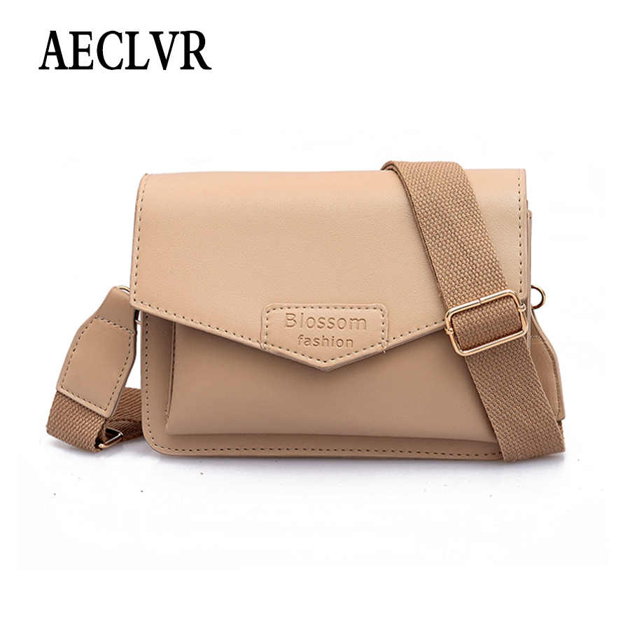ff72610f010 AECLVR Letter Printing Solid Color Pu Leather Women Shoulder Bag Simple Style  Wide Strap Crossbody Bags
