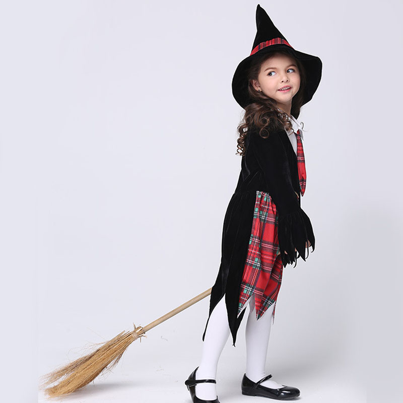 Cute Baby Girls Dress Cosplay Halloween Costume Plaid Witch Cap