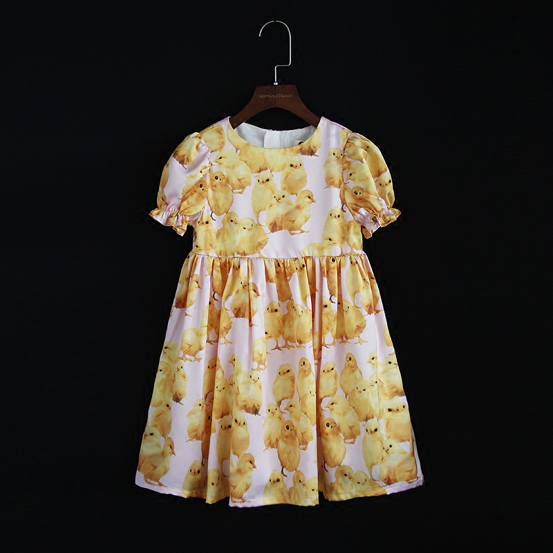 Spring Summer brand children clothing family look clothes kids girl duck print dress puff sleeve mother daughter fashion dresses summer kids flower girl dress family look mommy and me matching skirts mother daughter fashion dress children baby girls clothes