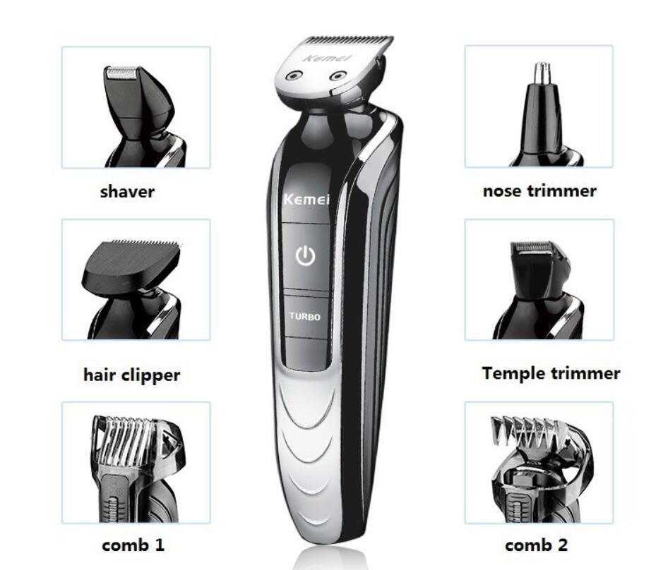 Todo en uno eléctrico hombre grooming kit cortadora de pelo barba afeitadora nariz recargable corte de afeitar barbero
