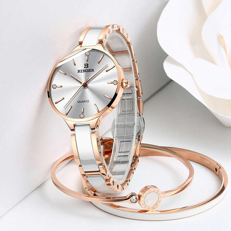 New Fashion Ceramic and steel Strap Women Rhinestone Wrist Watches Casual Women Dress Watches Crystal Rose gold Hot Relogio NEW