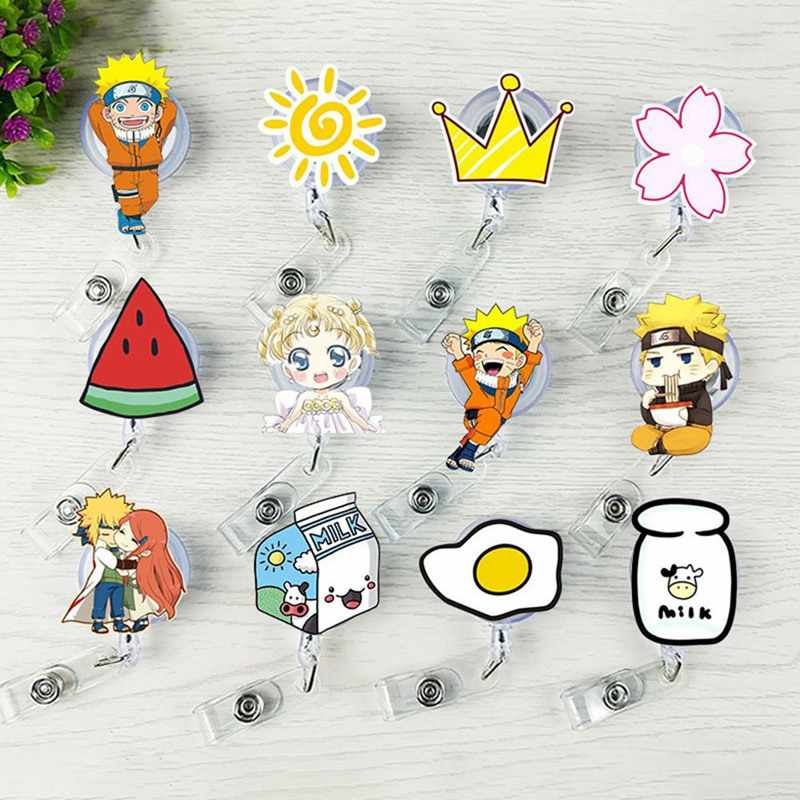 1 Pcs Cute Cartoon Mini Retrattile Badge Reel Anime Cordini ID Carta di Nome Badge Holder Clip Student Nurse Badge Holder uffici