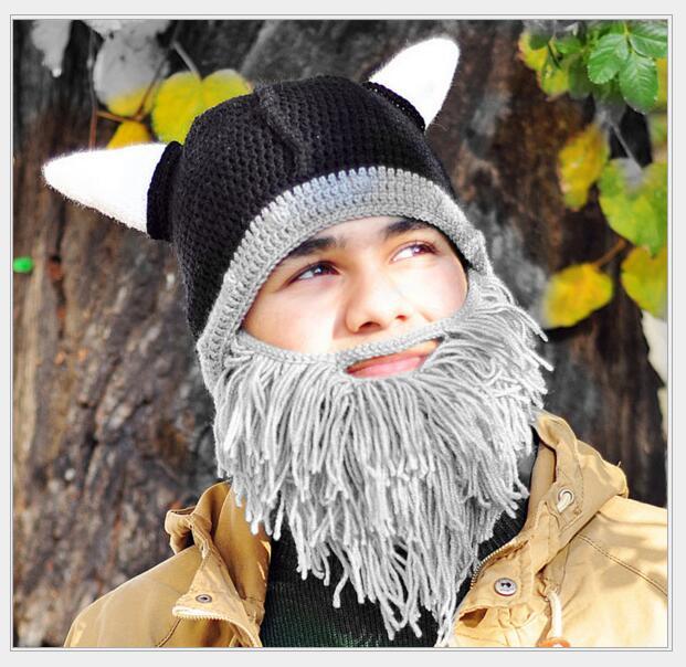 Handgemaakte Winter Grappige Wol Snor Gebreide Hoeden Piraat