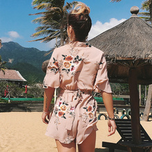 SUNNOW Spring Summer Chiffon Jumpsuit Women Floral Printed Rompers Female Beach Boho Jumpsuit Ladies Elegant One Piece Playsuit