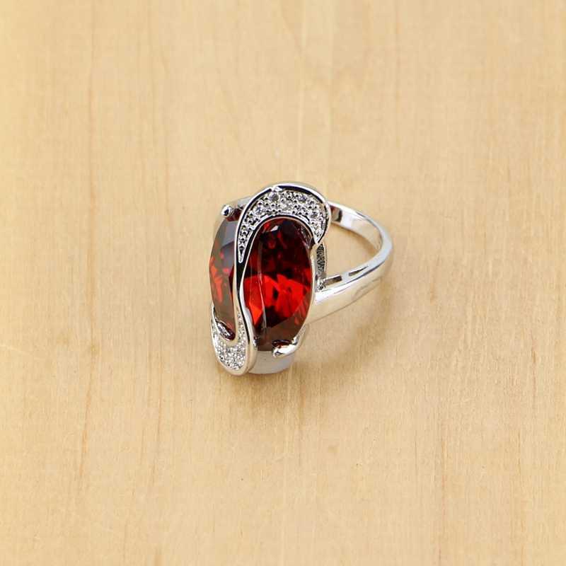 Mystic รูปไข่สีแดง Zircon คริสตัลสีขาวเงิน 925 ชุดเครื่องประดับสำหรับงานแต่งงานอุปกรณ์เสริมต่างหู/จี้/สร้อยคอ/ แหวน T078