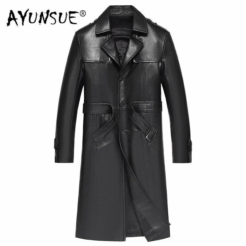 AYUNSUE Long Sheepskin Coat Genuine Leather Jacket Korean Windbreaker Leather Coat Chaqueta Cuero Hombre 81Y510 YY276