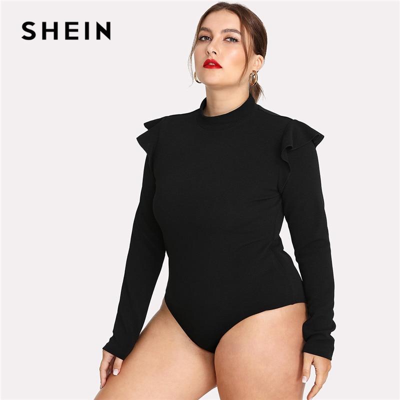 SHEIN Black Ruffle Embellished Shoulder Long Sleeve Plus Size Women Slim Fit Bodysuit Office Lady Autumn Winter Solid Bodysuit