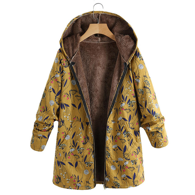 Floral Print Winter Warm Jacket Women Casual Zipper Pockets Cotton Coat 2018 Autumn Long Hoodies Ladies Winter Coat Female