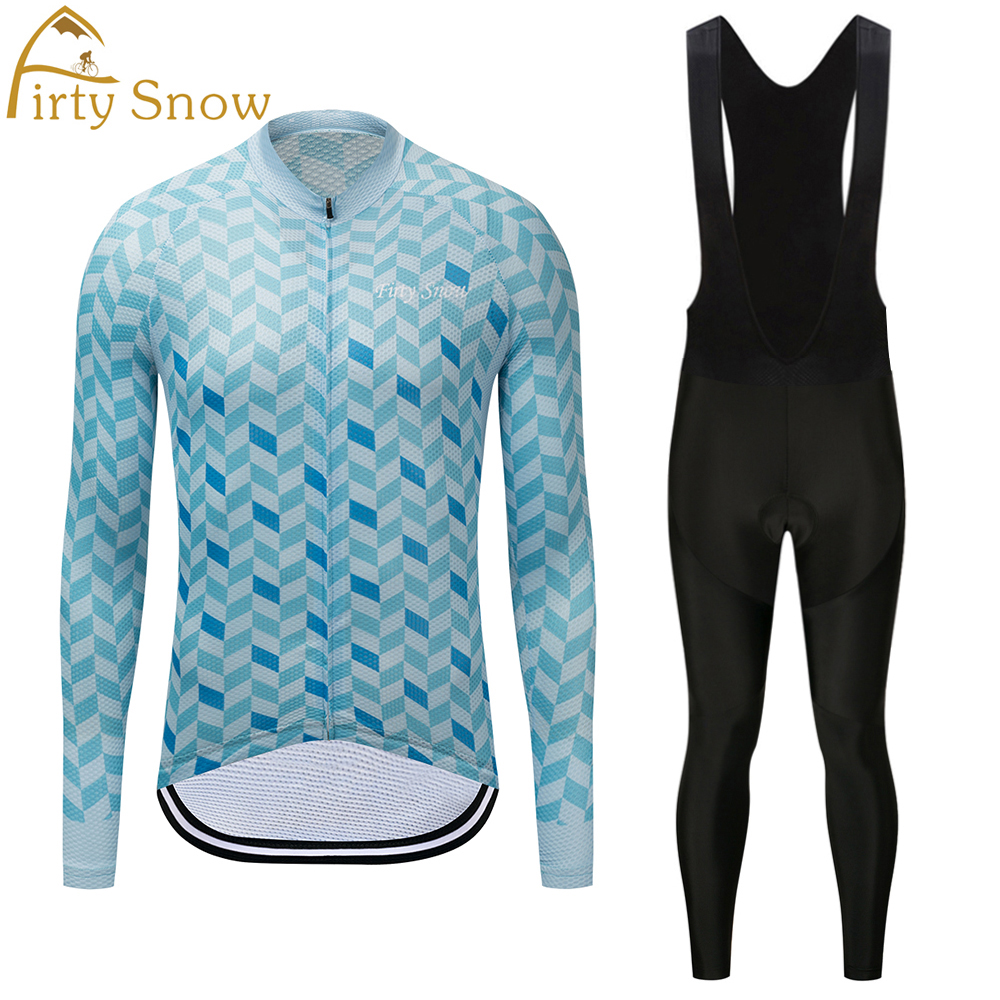 Firty Snow Cycling Jersey Quick Dry Long Sleeve Jerseys And Cycling Bib Pants Set Cycling Clothes Breathable