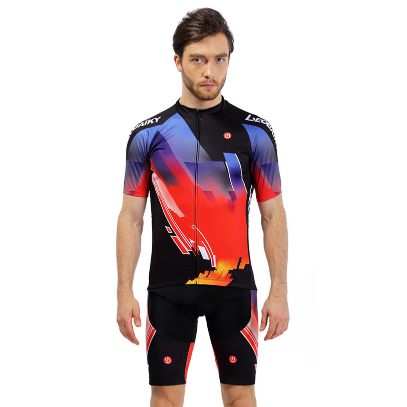 2017 New Men Women Cycling Jersey Sets Short Sleeve Bike Breathable Outdoor Sports Cycling Bike Clothing S-3XL Plus Size May 31