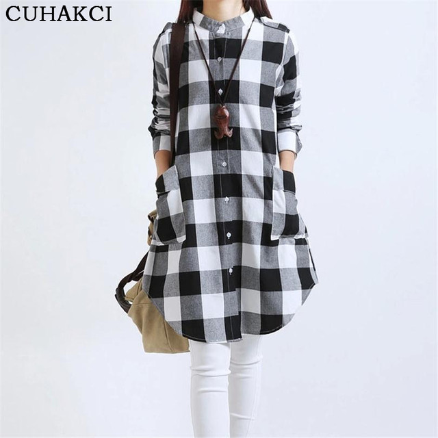 2017 novas camisas de t das mulheres clothing xadrez maxi longo solto plus size Xadrez Camisas de Impressão Única Camisa Bolso Casual Streetwear S066