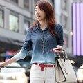 2016 Mujeres de La Manera del Polo de Cuello de un solo pecho Camisa Casual Primavera Verano Jean Denim Tops blusa Azul