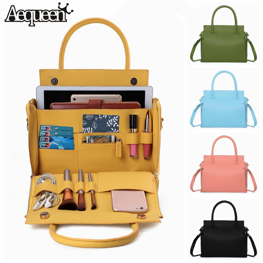 AEQUEEN Women Solid Luxury Handbag Capacity Bag Multifunction Crossbody Bag Leather Shoulder Bag Feminine Bolsa Ladies Tote