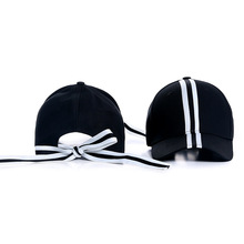 Striped Bow Baseball Cap Women Black White Hat for Lady Young Girls striped knot baseball cap