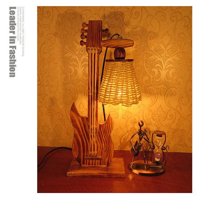 Madeira criativo lâmpada quarto lâmpada decoração de mesa de luz criança 150824