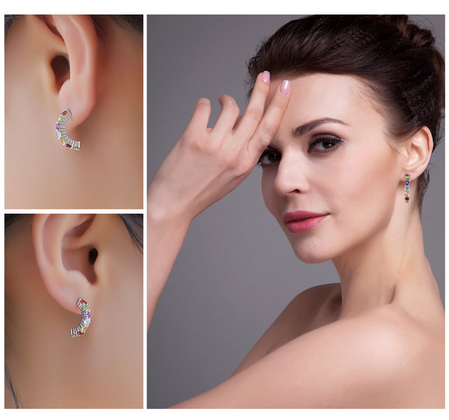 925 Sterling Silver 0.7CT Multicolor Natural Amethyst Citrine Garnet Peridot Blue Topaz Earrings