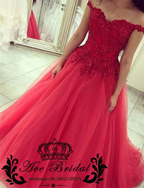 Sexy Off the Shoulder Rot Prom Kleider Lange 2017 Ball kleid Spitze ...