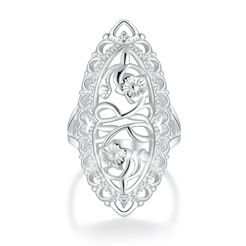 Romantic Silver Plated Hollow Flower Wedding Rings For Women Delicate Enthusiastic Long Oval Bohemian Female Finger Jewelry Gift mariposa en plata anillo