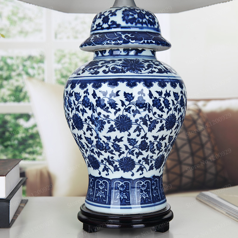 Porcelain Chinese Style Blue And White Porcelain Table Lamp ...