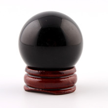 лучшая цена 35mm Black Obsidian Sphere wood stand Bell Grey Crystal Chakra Healing Reiki Natural Stone Carved Crafts Free pouch