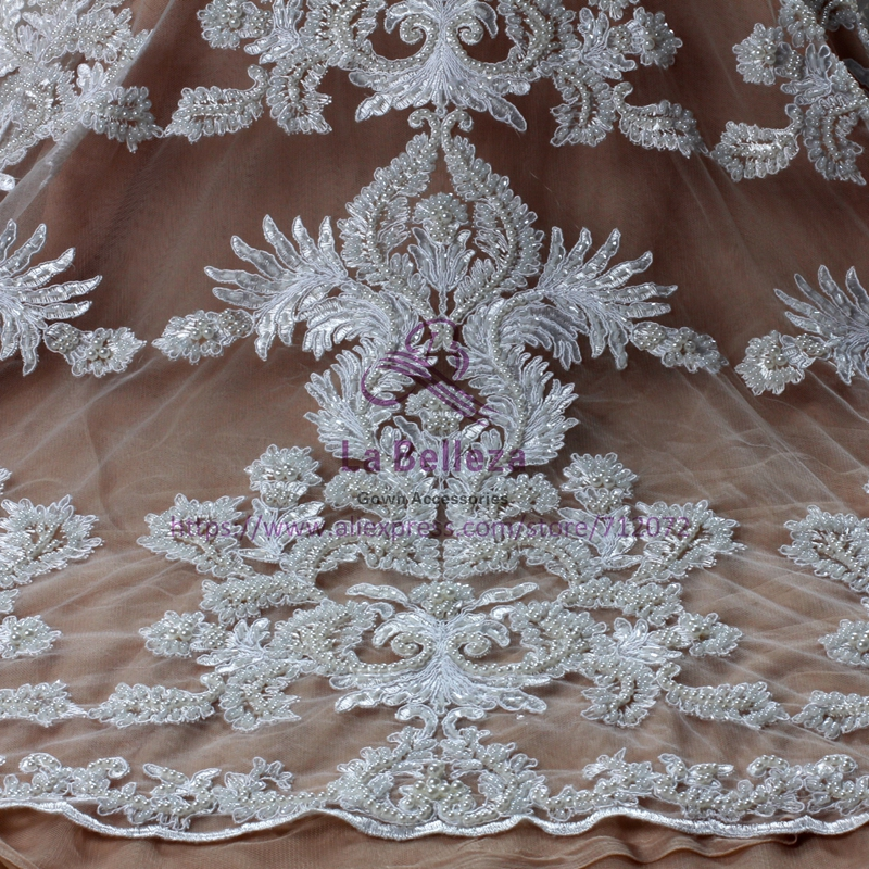 La Belleza ivory white large pattern cord lace fabric heavy beaded fabric handmade beading lace gown