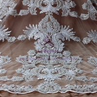 New Off White Large Pattener Cord Super Heavy Pearls Beading Embroidered Wedding Dress Lace Fabric 51