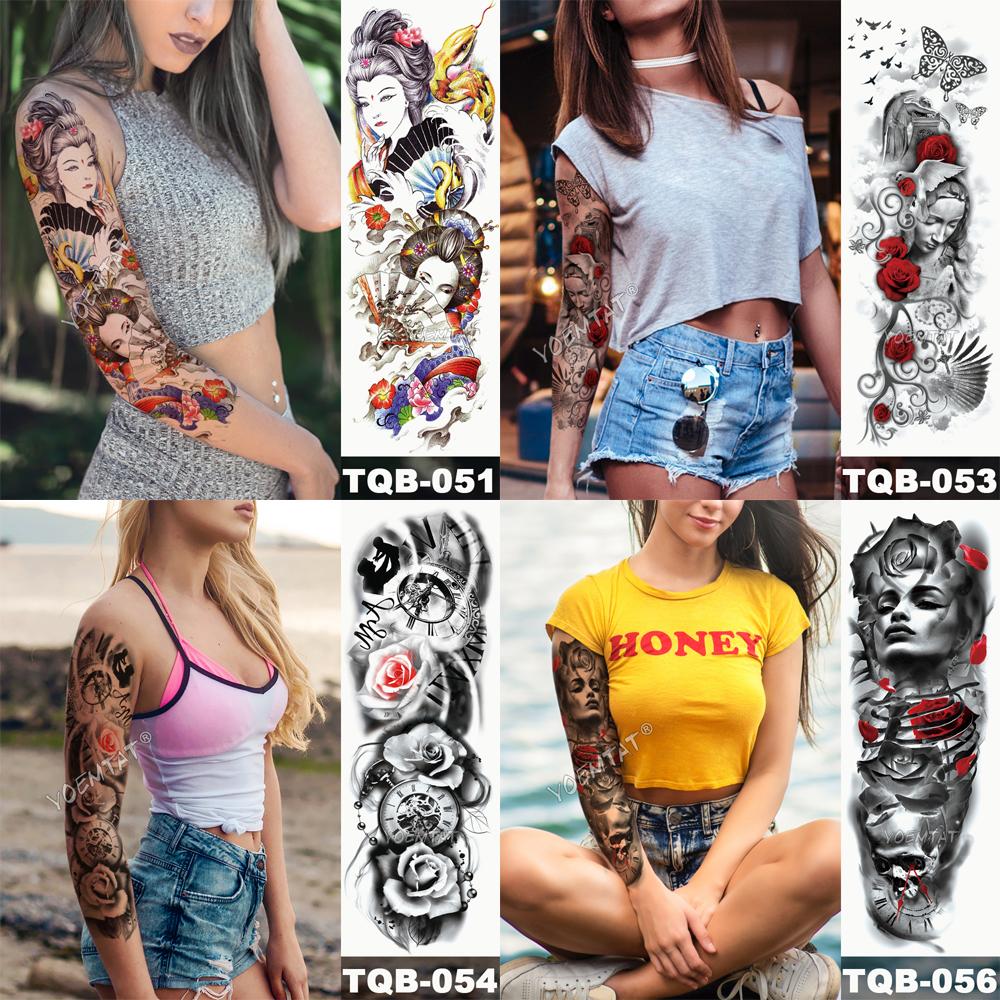 Tatuaje temporal para brazo con calaveras 2