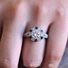 Натуральная 925 пробы серебро Forever Clear AAA Синий Круглый фианит круглые кольца на пальцы для женщин ювелирные изделия