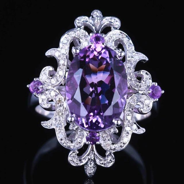 HELON anillo de compromiso de Plata de Ley 925 con amatista Natural, anillo ovalado con diamantes de 100% de 4,54 quilates, joyería fina con flores especiales para mujeres
