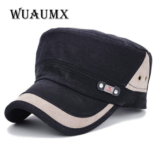 Wuaumx  Classic Military hat for Men Women Vintage Snapback Caps Army Hat  Cadet Patrol Baseball Cap Adjustable Outdoors Unisex bb4c1036a733