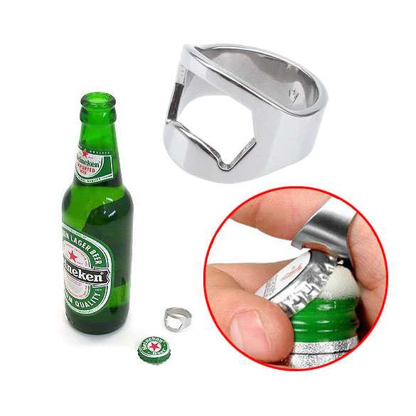 Unihome Hot Sales Silver Stainless Steel Finger Ring Bottle Beer Opener Free Shipping