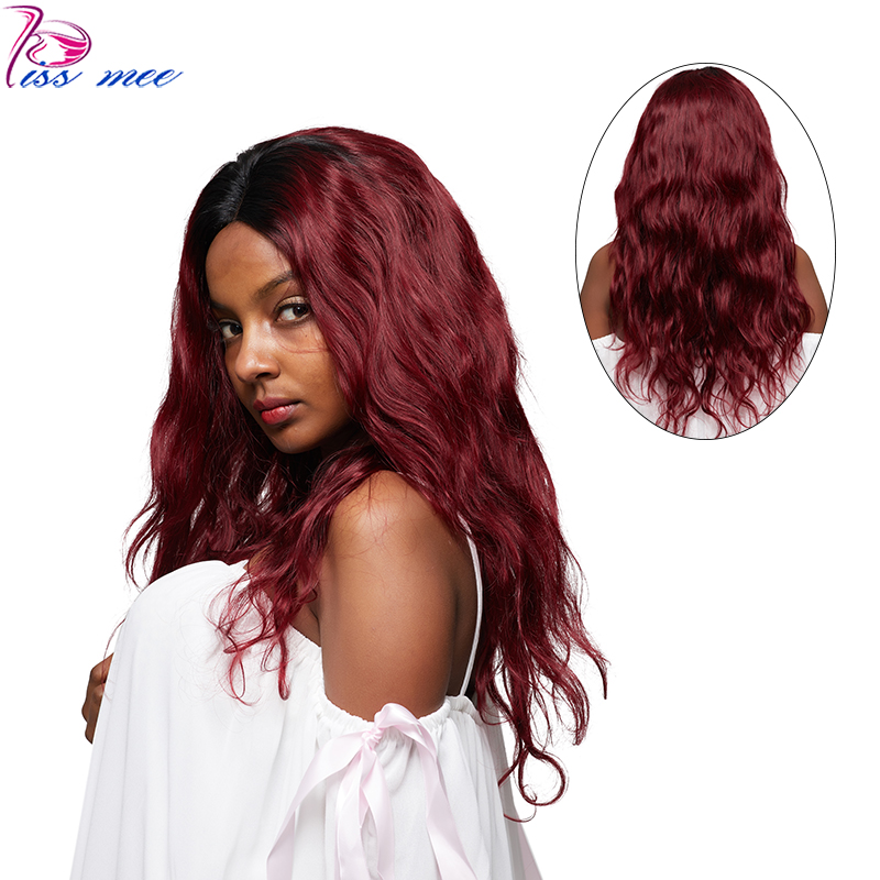 KISSMEE Pre Plucked Peruvian Body Wave Human Hair Wig Ombre 1B/99J Burgundy Lace Front Wig For Black Women 150 Density Remy Hair