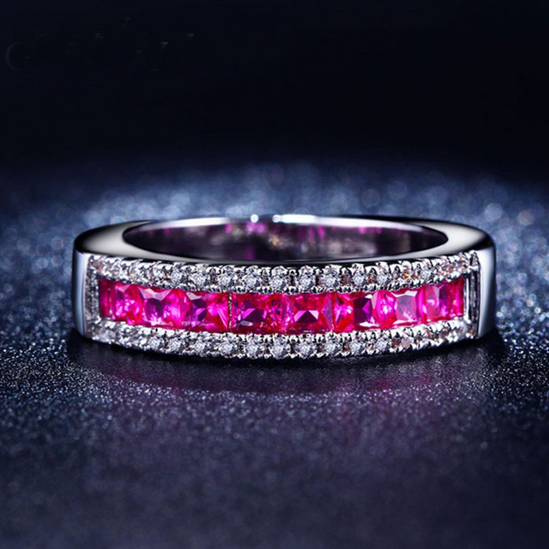 pink wedding ring set